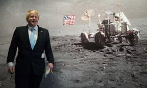 Boris Johnson in front of mural