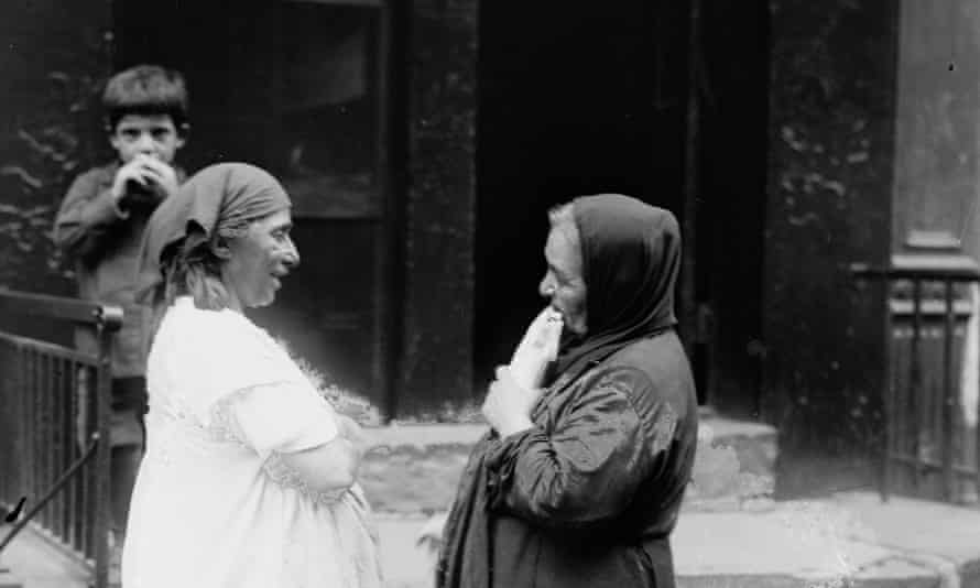 """Photograph shows women, probably Arab Americans, in an area of Manhattan's lower west side known as the """"heart of New York's Arab world."""" The Washington Street neighborhood was commonly refered to as the """"Syrian Colony."""""""