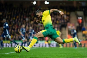 Onel Hernandez of Norwich City in full flight against Watford at Carrow Road.