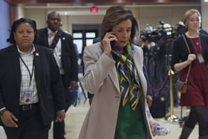Nancy Pelosi on Capitol Hill in Washington, Thursday, as she headed to a briefing on the coronavirus.