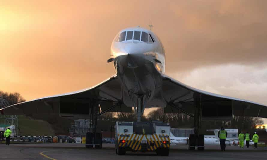 The sun sets on Concorde after the final flight into Filton, Bristol.