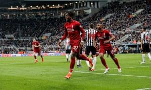 Divock Origi starts to celebrate his winner for Liverpool at Newcastle