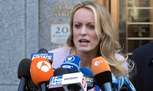 Stormy Daniels speaks outside federal court in New York on 16 April 2018.