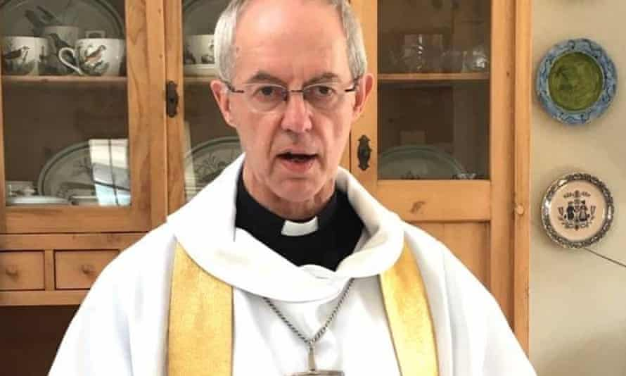 Justin Welby recording his Easter Sunday sermon in the kitchen of his flat at Lambeth Palace in London.