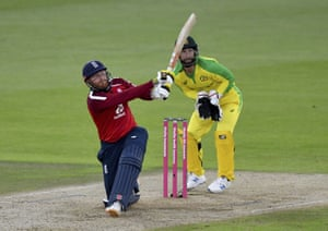 Bairstow hits a six.