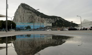 The Rock is seen near the border with Spain in the British overseas territory of Gibraltar