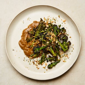 Yotam Ottolenghi's purple sprouting broccoli with mushroom ketchup.