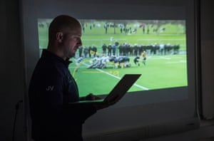 Justin Vanstone, head coach for Blackrock College school rugby team, prepares for his Monday video analysis session looking at the previous weekend match at Blackrock College in Dublin.