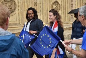 Promenaders take EU flags in to the Royal Albert Hall