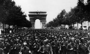 AMERICAN SOLDIERSFILE--Thousands of American soldiers march along the Champs Elysees, on Aug. 29, 1944, four days after the liberation of Paris, France. World War II began in September 1939, with Adolph Hitler's invasion of Poland. Germany surrendered on May 7, 1945. (AP Photo/Peter J. Carroll)