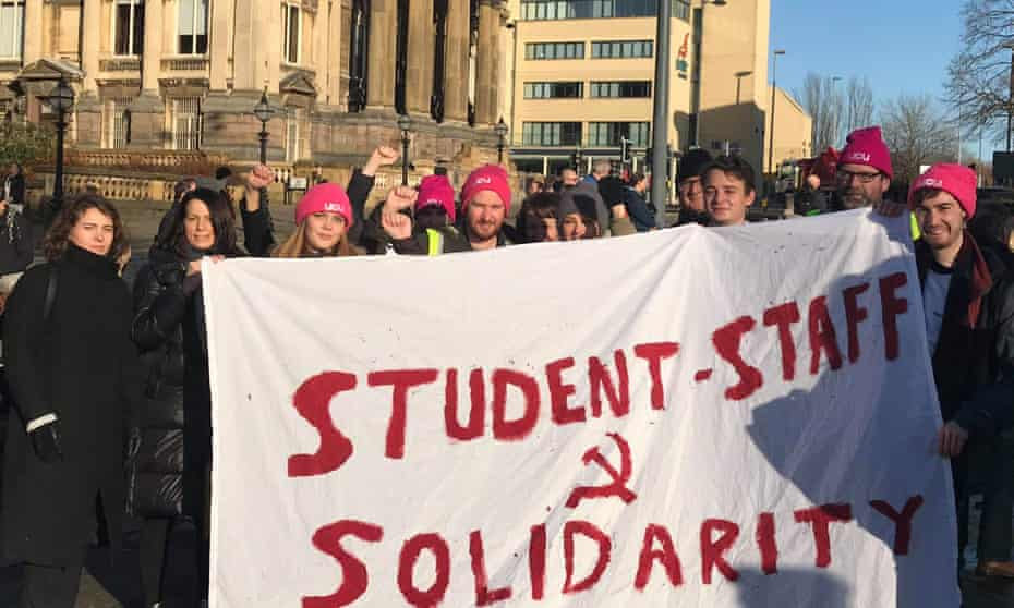 Students blockaded a building at the University of Liverpool this morning to show solidarity with striking staff.