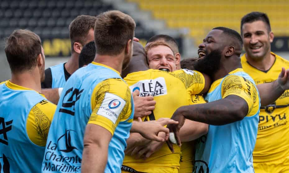 La Rochelle celebrates a try in their victory against Sale.