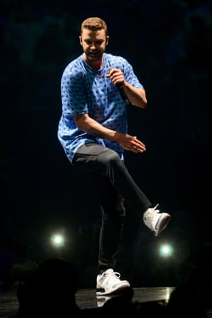 'A mix of Michael Jackson, boy-band aerobics and the jookin style of his native Tennessee' ... Timberlake dances at the O2.