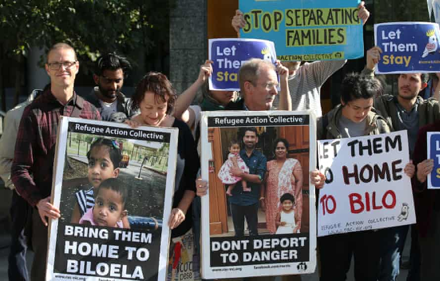 Supporters from Biloela and elsewhere outside the federal court in Melbourne in September, the last time a Tamil family detained on Christmas Island had their visa case heard in court.