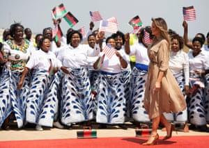 Trump arrives at Lilongwe International Airport in Malawi