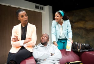 Noma Dumezweni (Rita), Msamati (Kayode) and Jocelyn Jee Esien (Fola) in Belong by Bola Agbaje at the Royal Court Jerwood Theatre Upstairs in 2012. Directed by Indhu Rubasingham