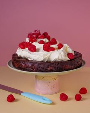 Chocolate raspberry pudding cake.
