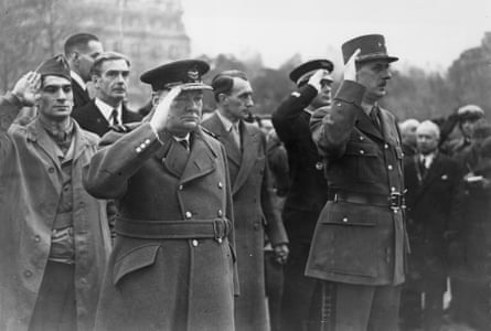 Winston Churchill with Charles de Gaulle in Paris in 1944.