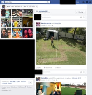 A screenshot from the Facebook page of Mark Ellis, which appears to show the One Nation candidate for Macalister doing a Nazi salute next to a large swastika mown into a backyard lawn