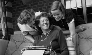 Enid Blyton pictured in 1949 with her daughters Gillian (left) and Imogen (right) at their home in Beaconsfield, Buckinghamshire.