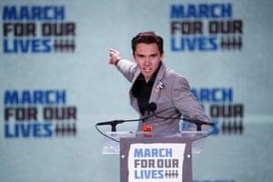 David Hogg, a survivor of the Marjory Stoneman Douglas High School shooting speaks at the Washington,DC. rally.