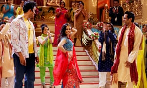 Bollywood actors dancing on set