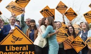 Jane Dodds celebrates her win with Lib Dem leader Jo Swinson