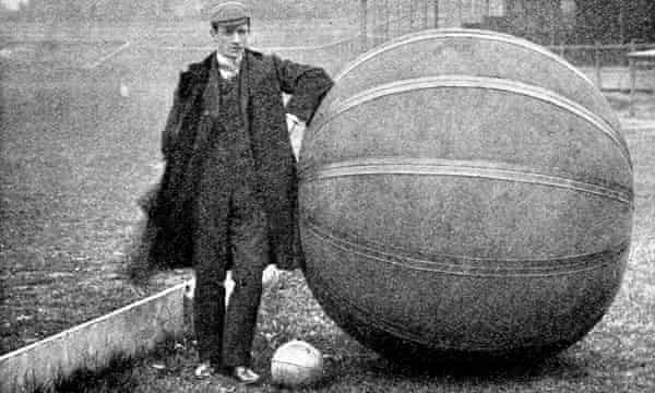 EV Hanegan, who brought pushball to Britain from America, stands by the monster ball which pitcxhed up in Hull, Halifax, Middlesbrough, Newcastle, Sheffield, Glasgow and Cork.