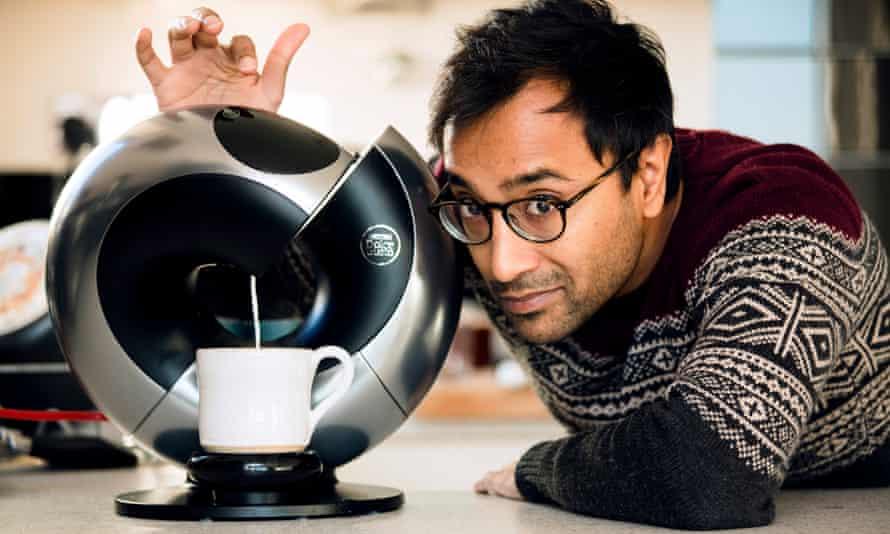 'Prepare to whip yourself into a frenzy' … Rhik with the Nescafé Dulce Gusto Eclipse coffee machine.