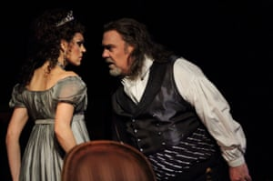 Kristina Opolais in the title role, with Bryn Terfel  as Scarpia, in Tosca at the Royal Opera House.