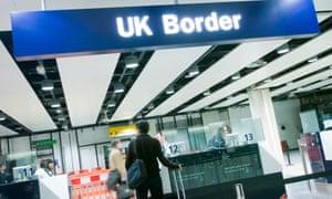 UK border controls at an airport
