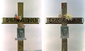 Memorials to the Columbine high school shooters, Dylan Klebold and Eric Harris.