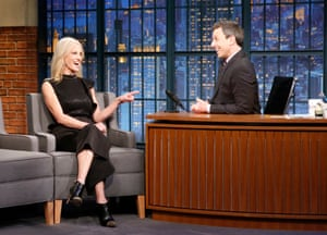 Meyers interviewing Kellyanne Conway on Late Night.