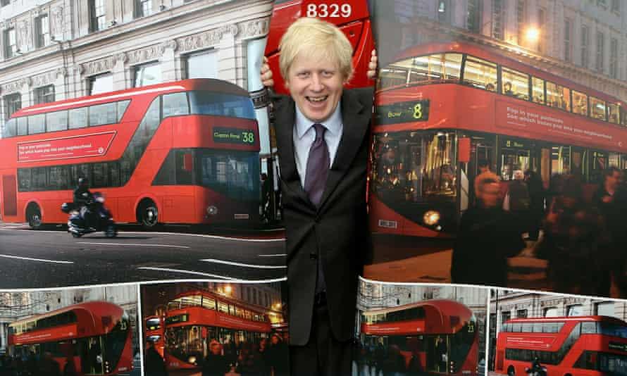 Boris Johnson unveils the new Routemaster bus.