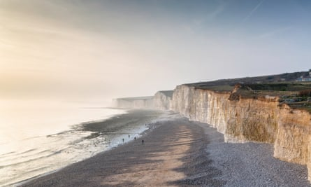 The sea and shore seen from Birling Gap, East Sussex.