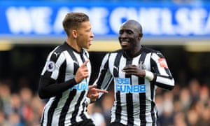 Dwight Gayle (left) followed up his opening goal at Old Trafford with the first of the game at Stamford Bridge.