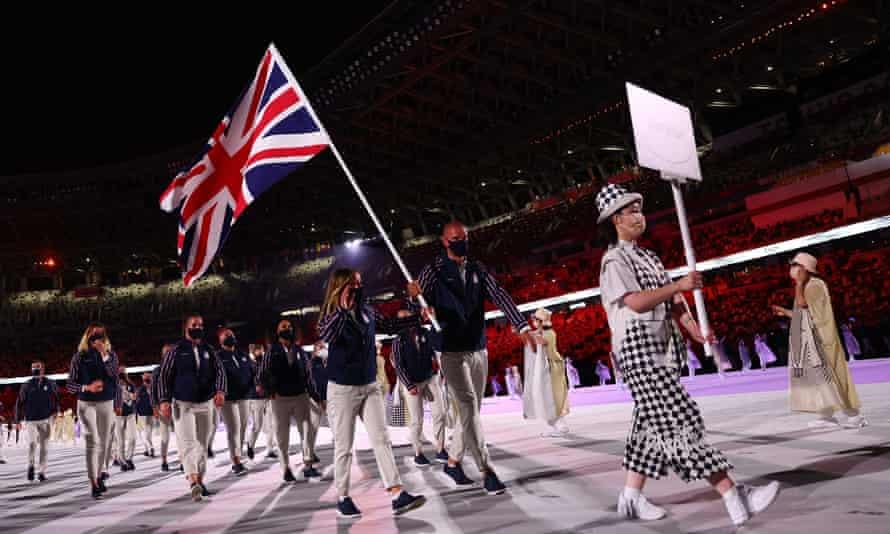 British sports stars marching