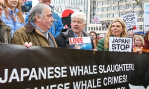 Symonds with Boris Johnson's father Stanley Johnson (centre) at a protest against Japanese whaling in central London, January 2019.