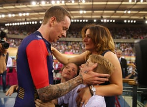 """A special family moment. Wiggins said: """"That's the closest I will come to knowing what it's like to have a baby,"""" although afterwards he would not be drawn on what his wife Cath had to say."""