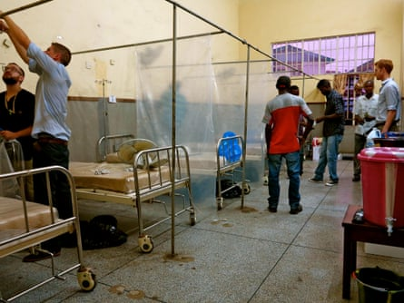 The Ebola isolation unit is dismantled at the Connaught hospital, Freetown