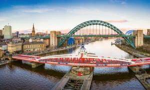 a view looking down the River Tyne in central Newcastle. The Swing Bridge, Tyne Bridge and Gateshead Millennium Bridge o