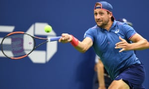 Tennys Sandgren just about squeezed through his opening service game against Novak Djokovic.