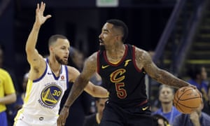 JR Smith (right) failed to shoot when the Cavaliers had a chance to seal victory in the finals seconds of Game 1 of the NBA finals.