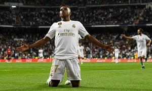 Real Madrid's Brazilian forward Rodrygo celebrates his goal against Osasuna.
