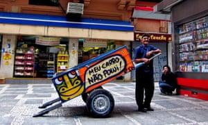 'Meu carro não polui!'... carroça pintada por Thiago Mundano. Fotografia: Mundano