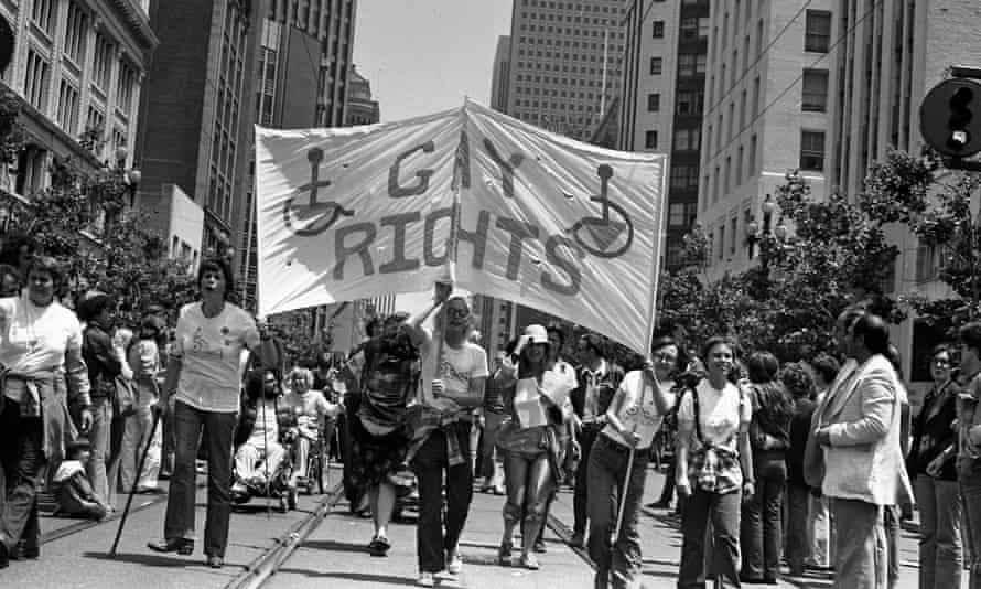Disabled gay rights contingent at the 1977 San Francisco Gay Freedom Day Parade; photo by Marie Ueda