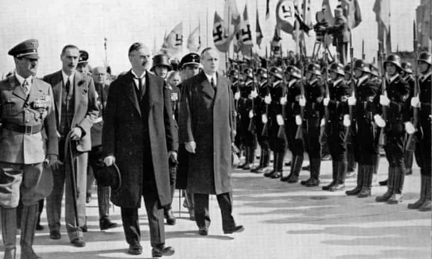 Adolf Hitler, Neville Chamberlain and Joachim von Ribbentrop at Munich, 1938.