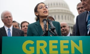 Alexandria Ocasio-Cortez calling for a Green New Deal.