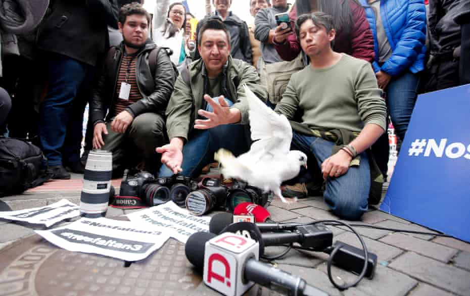 Friends and colleagues of kidnapped journalists demand their freedom in Quito, Ecuador.