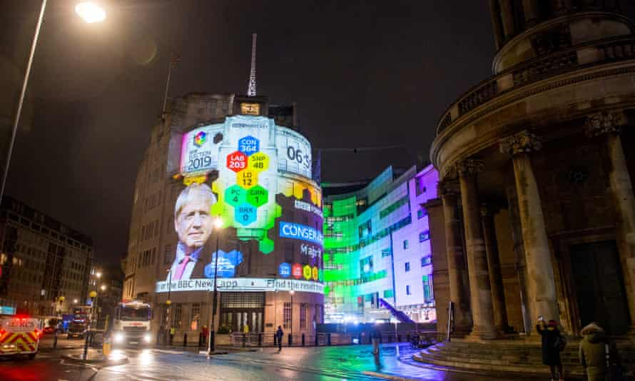 The BBC projection of the election exit polls results on its Broadcast House building in London.